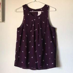 Purple sleeveless elephant print blouse - size S
